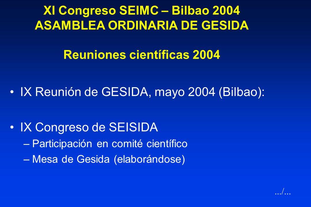 XI Congreso SEIMC – Bilbao 2004 ASAMBLEA ORDINARIA DE GESIDA Reuniones científicas 2003 VIII Reunión de GESIDA, marzo 2003 (Oviedo): –Infección por VI