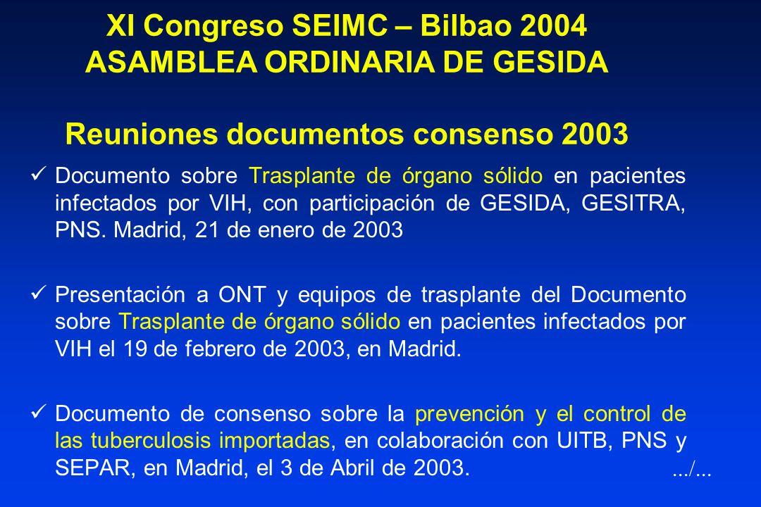 XI Congreso SEIMC – Bilbao 2004 ASAMBLEA ORDINARIA DE GESIDA Documentos Consenso Guías Otros documentos consenso.../...