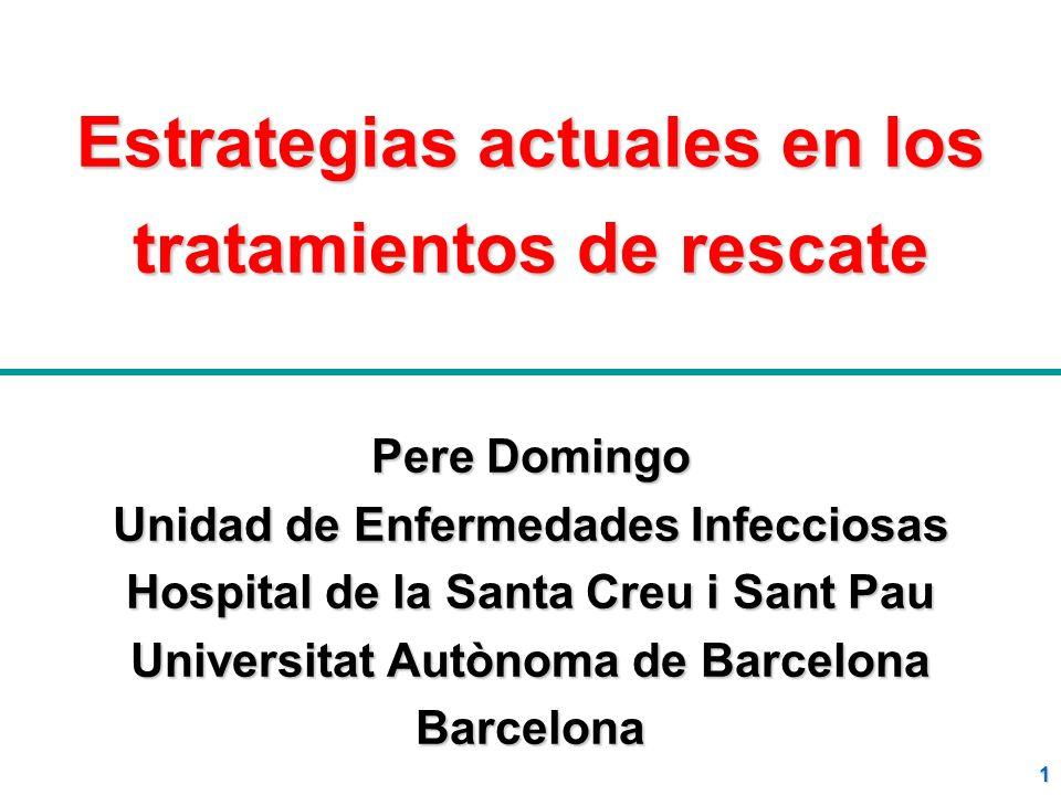 1 Estrategias actuales en los tratamientos de rescate Pere Domingo Unidad de Enfermedades Infecciosas Hospital de la Santa Creu i Sant Pau Universitat