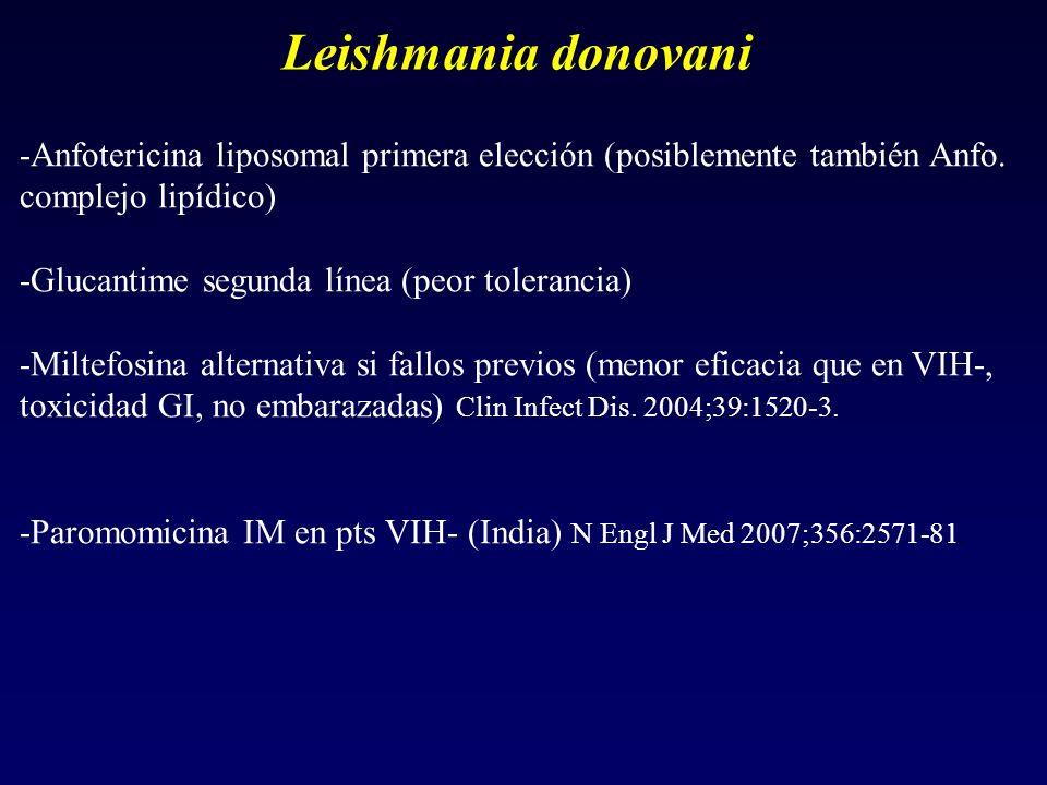 Leishmania donovani -Anfotericina liposomal primera elección (posiblemente también Anfo. complejo lipídico) -Glucantime segunda línea (peor tolerancia