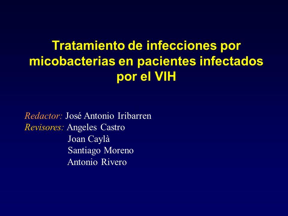 Tratamiento de infecciones por micobacterias en pacientes infectados por el VIH Redactor: José Antonio Iribarren Revisores: Angeles Castro Joan Caylà