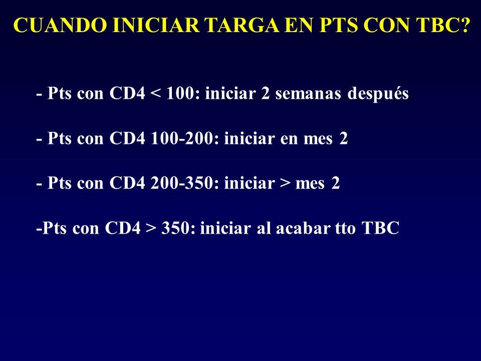 CUANDO INICIAR TARGA EN PTS CON TBC? - Pts con CD4 < 100: iniciar 2 semanas después - Pts con CD4 100-200: iniciar en mes 2 - Pts con CD4 200-350: ini
