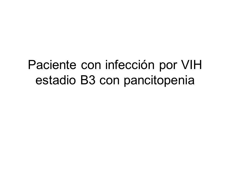 Infección VIH B3 –Homosexual –CD4 < 200 durante los últimos 3 años –Herpes genital, Moluscum contagiosum –Rechazo de tratamiento Pancitopenia grave, megalias, adenopatías y placas cutáneas violáceas 2005