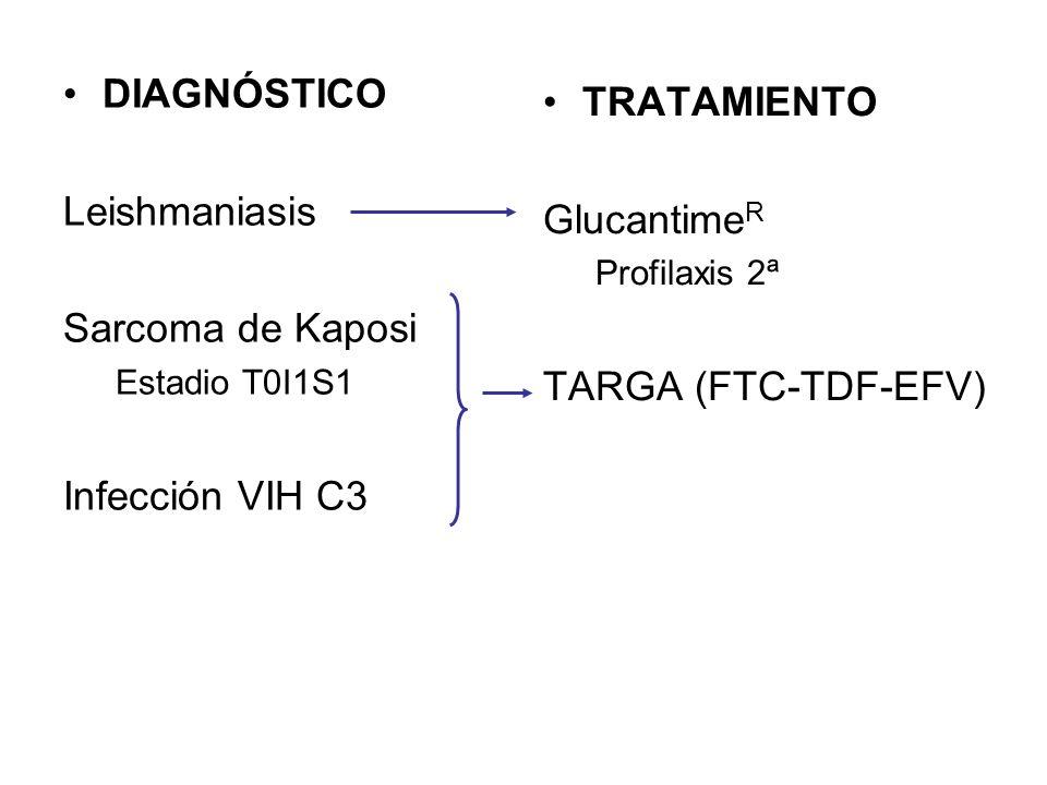 EVOLUCIÓN 4-6º mes Empeoramiento de las citopenias Progresión del sarcoma de Kaposi: –Piel: linfedema, afectación oral –HDA (melenas), HDB, anemia ferropénica –Afectación pulmonar Fracaso inmunovirológico del TARGA: –CD4 69 –CVP 100.000 cop (descenso < 2 log) Conveniencia de test de resistencias en pacientes naive
