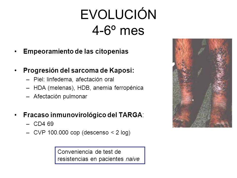 Pruebas diagnósticas Aspirado de médula ósea y biopsia –Inflamación granulomatosa Colonoscopia Kaposi + leishmanias Gastroscopia TC Broncoscopia Test de R R a 3TC/EFV Ausencia leishmanias M.