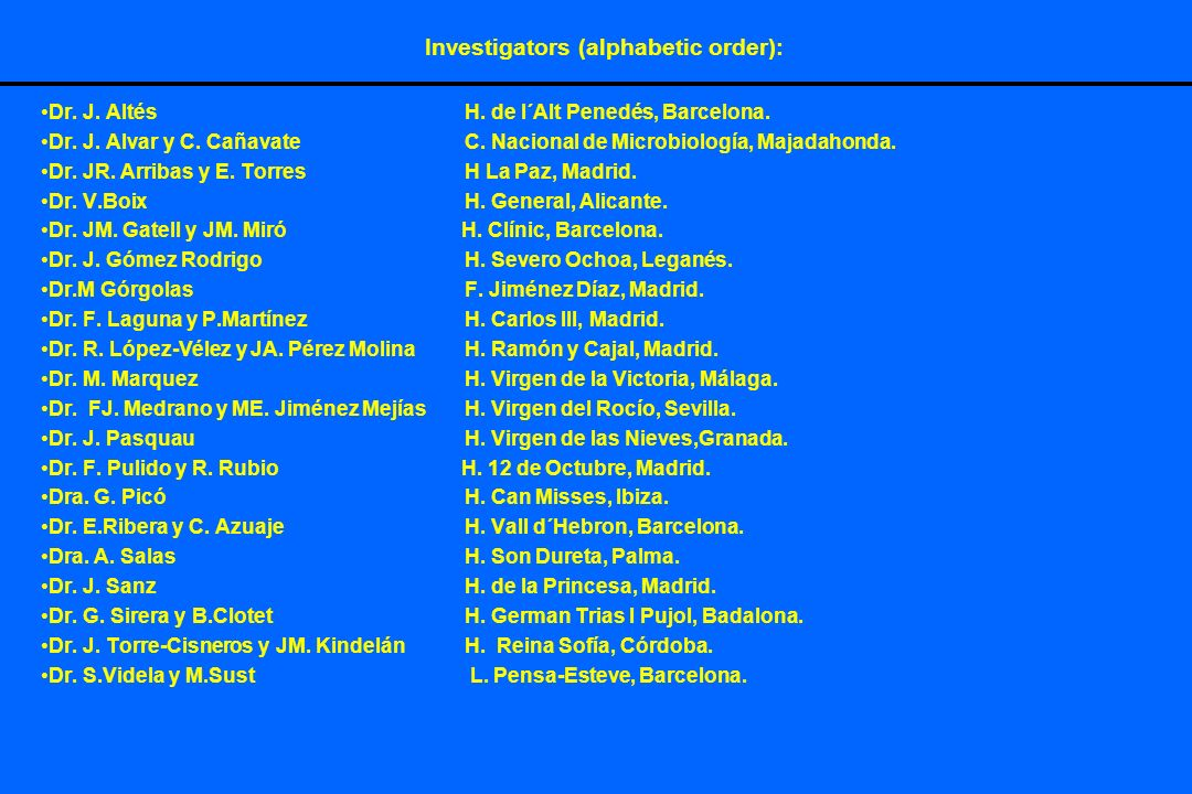 Investigators (alphabetic order): Dr. J. AltésH.