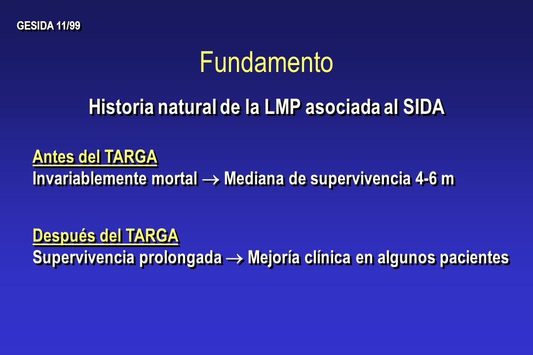 Fundamento Después del TARGA Supervivencia prolongada Mejoría clínica en algunos pacientes Después del TARGA Supervivencia prolongada Mejoría clínica
