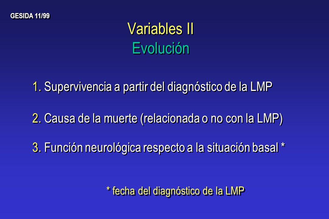 Variables II Evolución 2. Causa de la muerte (relacionada o no con la LMP) GESIDA 11/99 1. Supervivencia a partir del diagnóstico de la LMP * fecha de