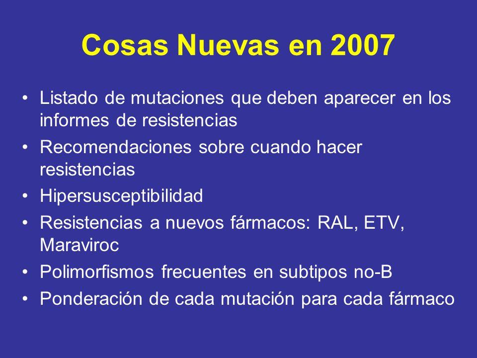Cosas Nuevas en 2007 Listado de mutaciones que deben aparecer en los informes de resistencias Recomendaciones sobre cuando hacer resistencias Hipersus