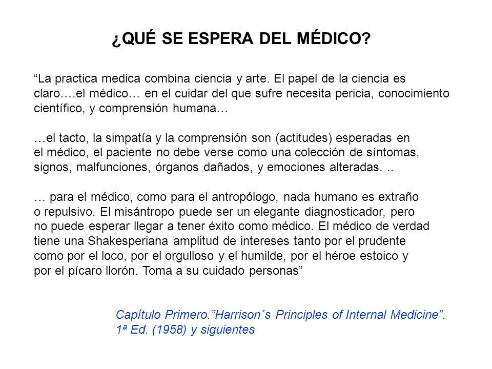 ¿QUÉ SE ESPERA DEL MÉDICO? La practica medica combina ciencia y arte. El papel de la ciencia es claro….el médico… en el cuidar del que sufre necesita