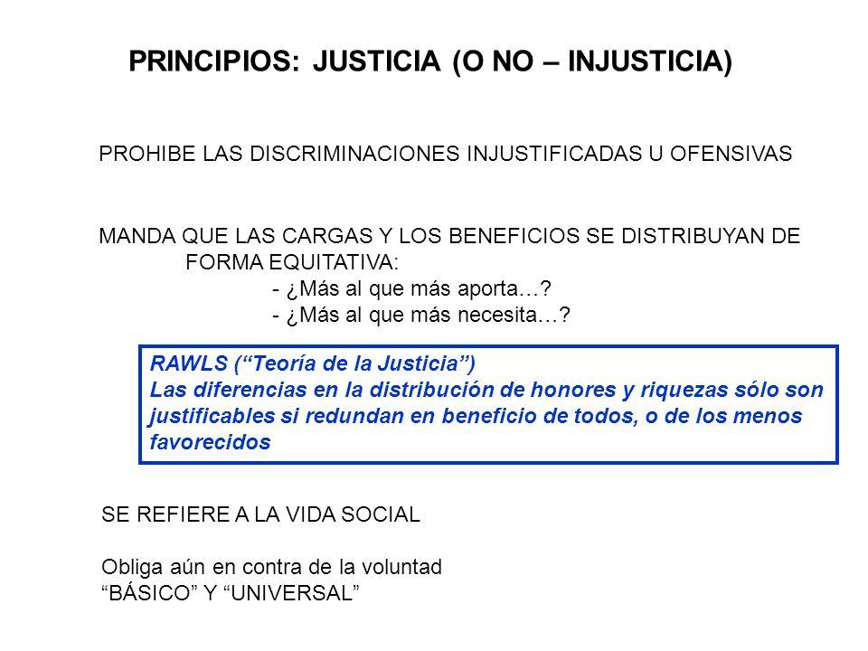 PRINCIPIOS: JUSTICIA (O NO – INJUSTICIA) PROHIBE LAS DISCRIMINACIONES INJUSTIFICADAS U OFENSIVAS MANDA QUE LAS CARGAS Y LOS BENEFICIOS SE DISTRIBUYAN