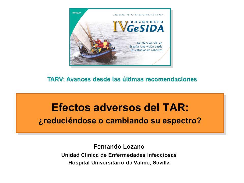 Efectos adversos del TARV Efectos adversos del TARV Recomendaciones sobre TARV
