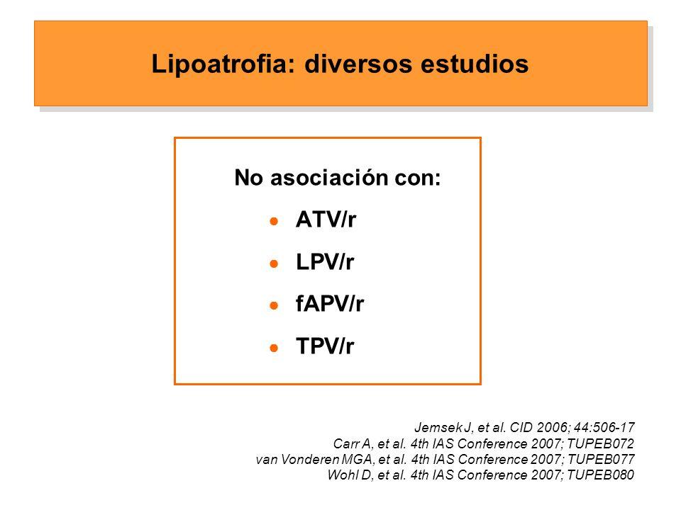 No asociación con: ATV/r LPV/r fAPV/r TPV/r Lipoatrofia: diversos estudios Jemsek J, et al.