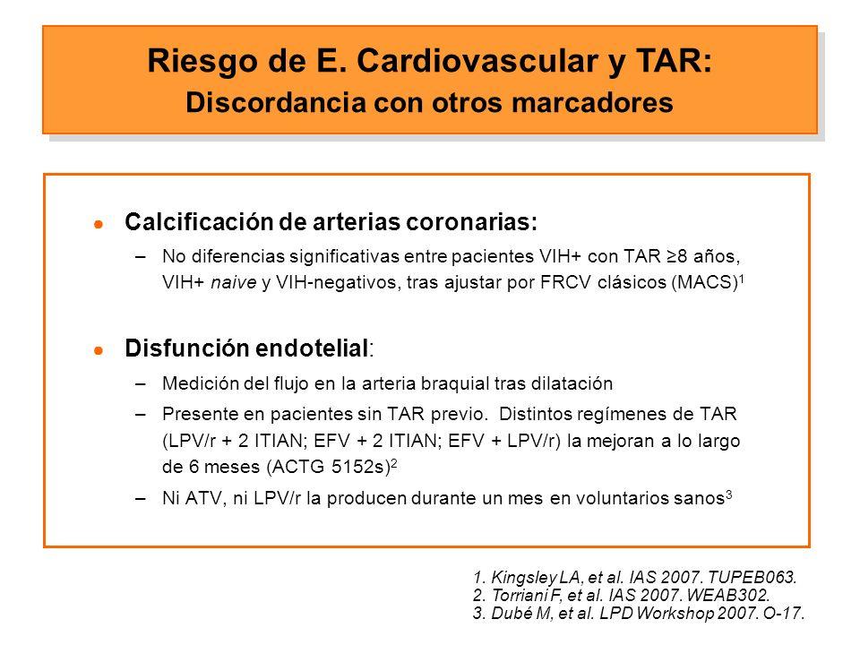 Calcificación de arterias coronarias: –No diferencias significativas entre pacientes VIH+ con TAR 8 años, VIH+ naive y VIH-negativos, tras ajustar por FRCV clásicos (MACS) 1 Disfunción endotelial: –Medición del flujo en la arteria braquial tras dilatación –Presente en pacientes sin TAR previo.