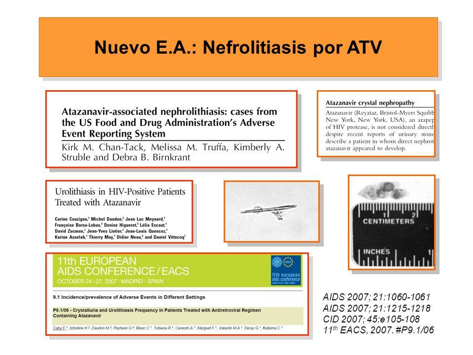 Nuevo E.A.: Nefrolitiasis por ATV AIDS 2007; 21:1060-1061 AIDS 2007; 21:1215-1218 CID 2007; 45:e105-108 11 th EACS, 2007.