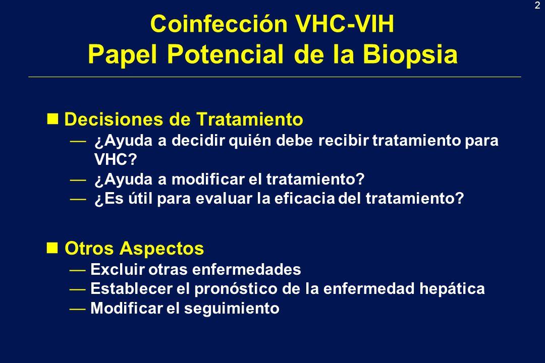 2 Coinfección VHC-VIH Papel Potencial de la Biopsia nDecisiones de Tratamiento ¿Ayuda a decidir quién debe recibir tratamiento para VHC? ¿Ayuda a modi