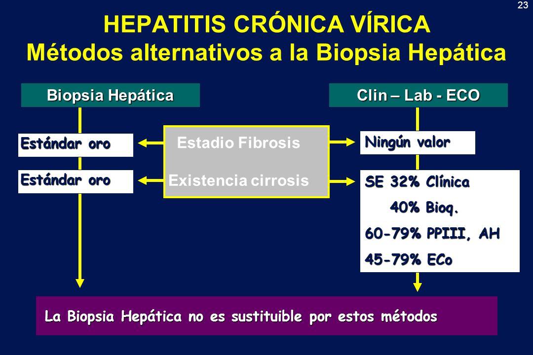 23 HEPATITIS CRÓNICA VÍRICA Métodos alternativos a la Biopsia Hepática Biopsia Hepática Estándar oro La Biopsia Hepática no es sustituible por estos m