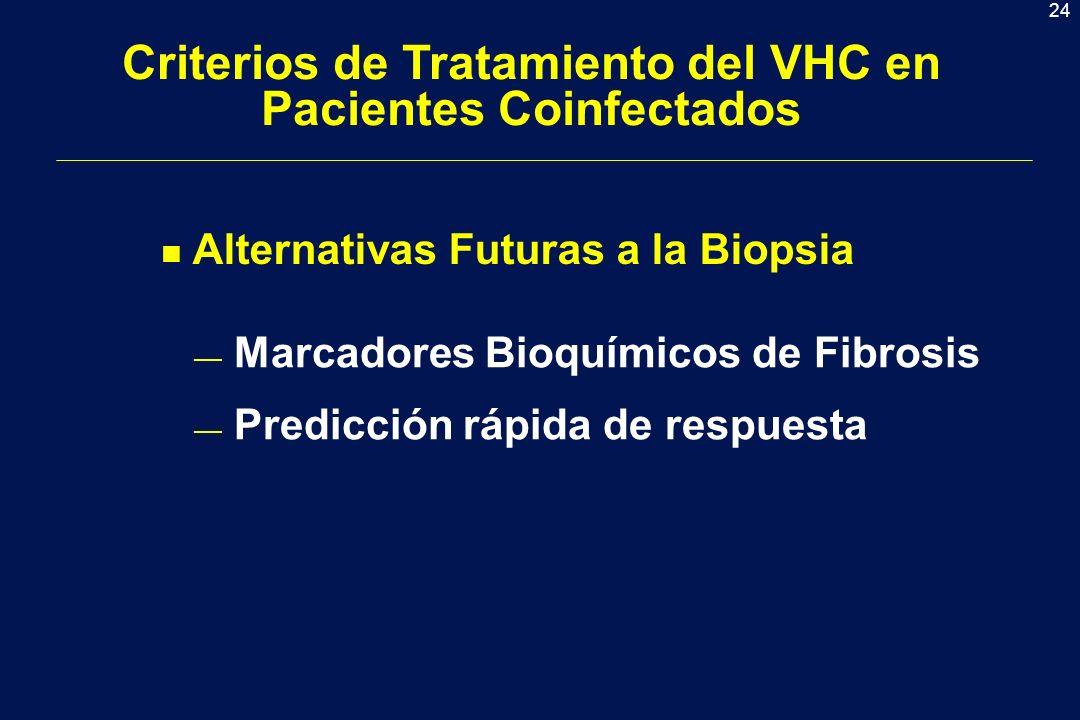 24 Criterios de Tratamiento del VHC en Pacientes Coinfectados n Alternativas Futuras a la Biopsia Marcadores Bioquímicos de Fibrosis Predicción rápida de respuesta