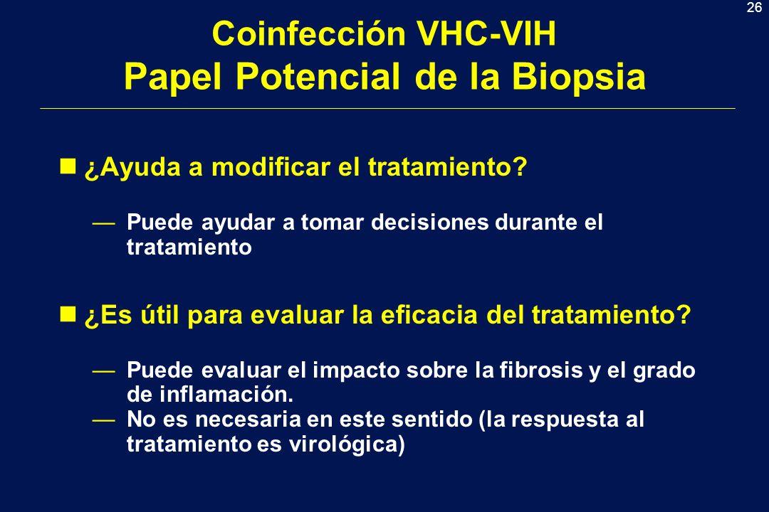 26 Coinfección VHC-VIH Papel Potencial de la Biopsia n¿Ayuda a modificar el tratamiento.