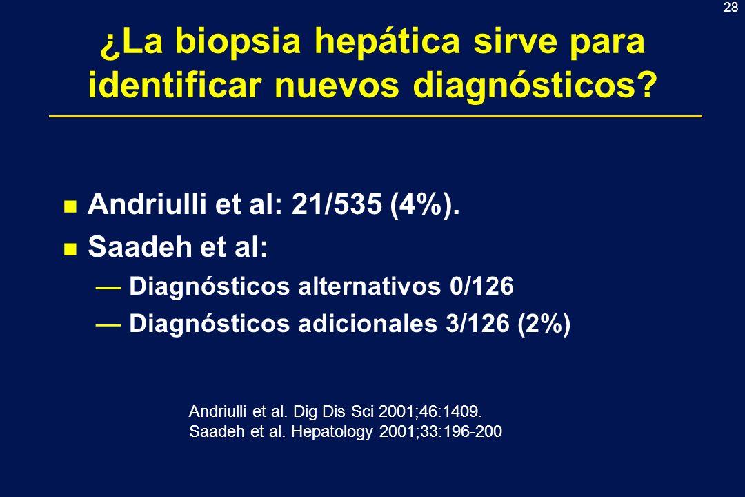 28 ¿La biopsia hepática sirve para identificar nuevos diagnósticos? n Andriulli et al: 21/535 (4%). n Saadeh et al: Diagnósticos alternativos 0/126 Di