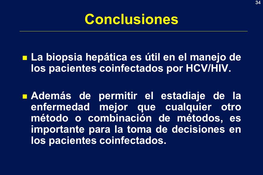 34 Conclusiones n La biopsia hepática es útil en el manejo de los pacientes coinfectados por HCV/HIV. n Además de permitir el estadiaje de la enfermed