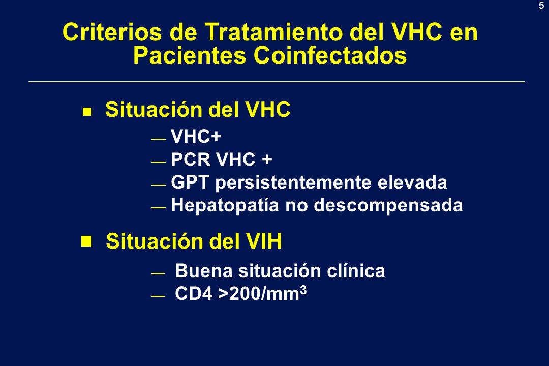5 Buena situación clínica CD4 >200/mm 3 Criterios de Tratamiento del VHC en Pacientes Coinfectados n Situación del VHC Situación del VIH VHC+ PCR VHC + GPT persistentemente elevada Hepatopatía no descompensada