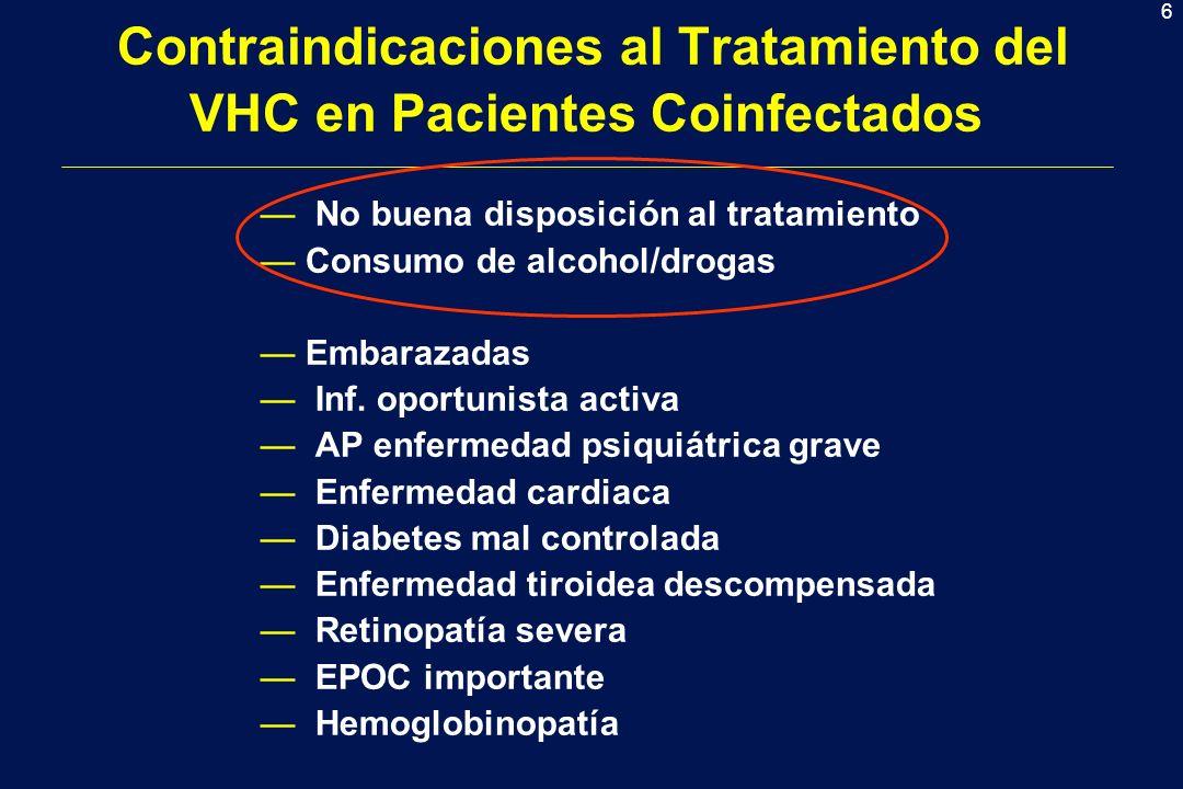 6 Contraindicaciones al Tratamiento del VHC en Pacientes Coinfectados No buena disposición al tratamiento Consumo de alcohol/drogas Embarazadas Inf. o