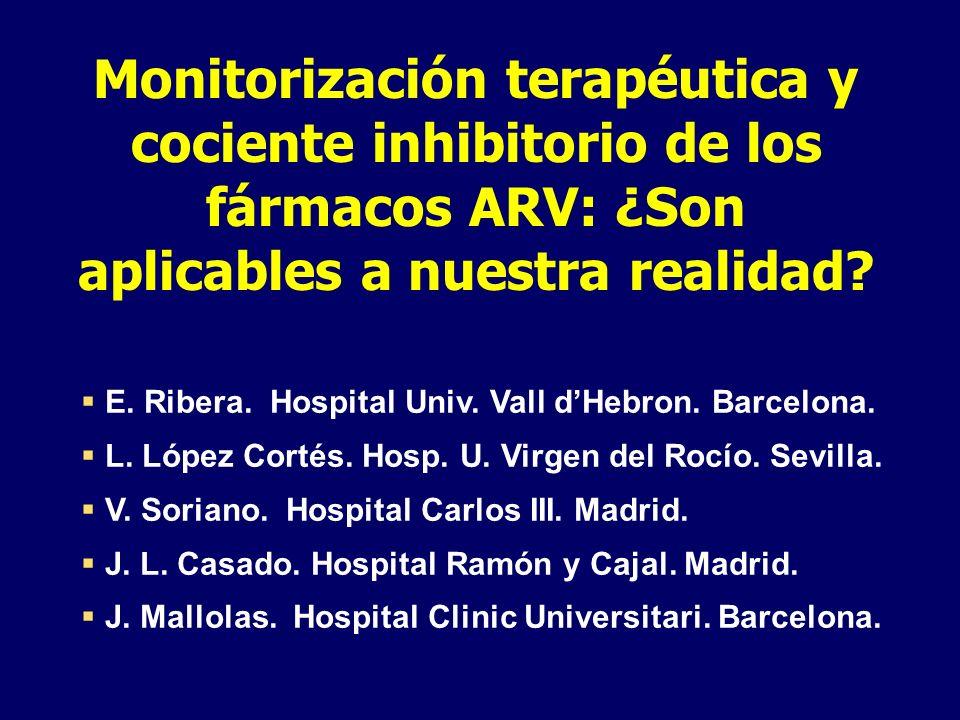 Monitorización terapéutica y cociente inhibitorio de los fármacos ARV: ¿Son aplicables a nuestra realidad? E. Ribera. Hospital Univ. Vall dHebron. Bar
