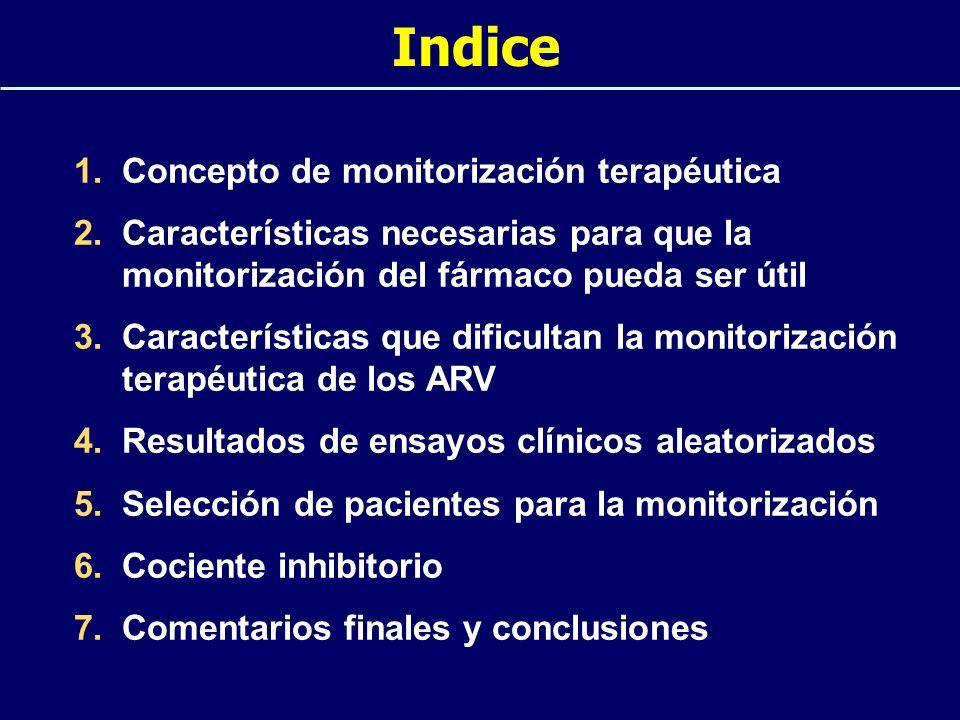 Indice 1.Concepto de monitorización terapéutica 2.Características necesarias para que la monitorización del fármaco pueda ser útil 3.Características q