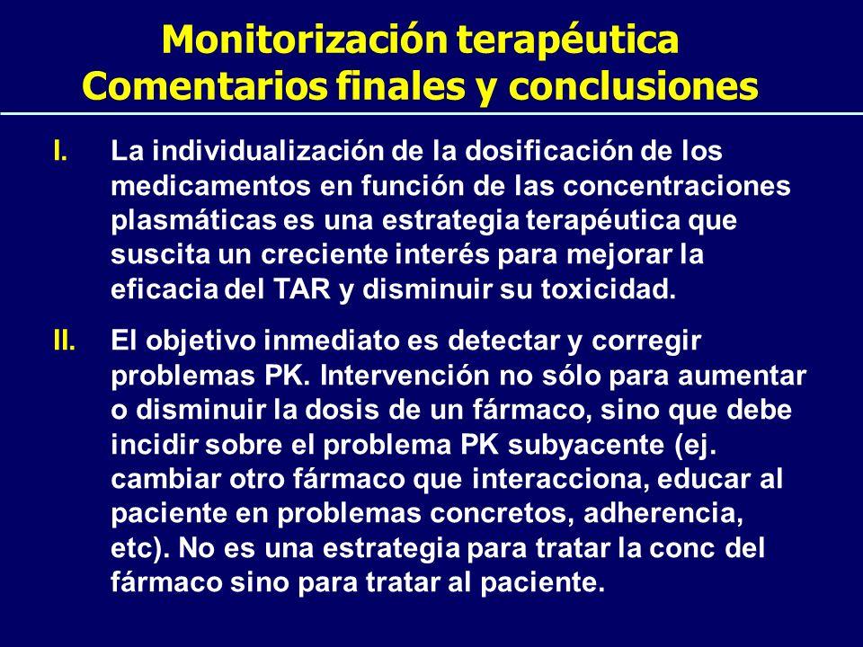 Monitorización terapéutica Comentarios finales y conclusiones I.La individualización de la dosificación de los medicamentos en función de las concentr