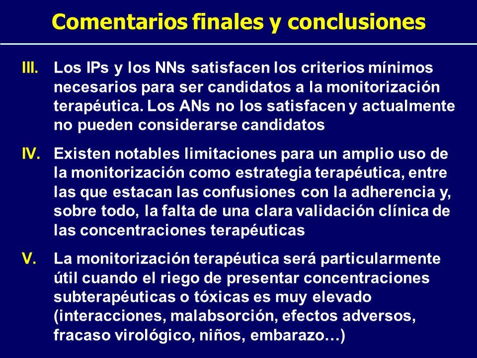 Comentarios finales y conclusiones III.Los IPs y los NNs satisfacen los criterios mínimos necesarios para ser candidatos a la monitorización terapéuti