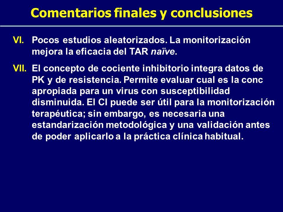 Comentarios finales y conclusiones VI.Pocos estudios aleatorizados. La monitorización mejora la eficacia del TAR naïve. VII.El concepto de cociente in