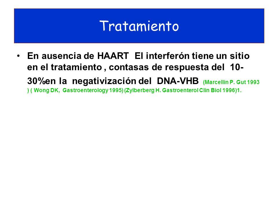 En ausencia de HAART El interferón tiene un sitio en el tratamiento, contasas de respuesta del 10- 30%en la negativización del DNA-VHB (Marcellin P. G