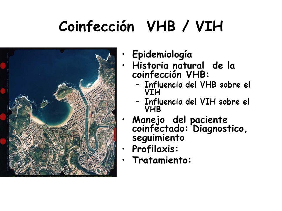 Coinfección VHB / VIH Epidemiología Historia natural de la coinfección VHB: –Influencia del VHB sobre el VIH –Influencia del VIH sobre el VHB Manejo d