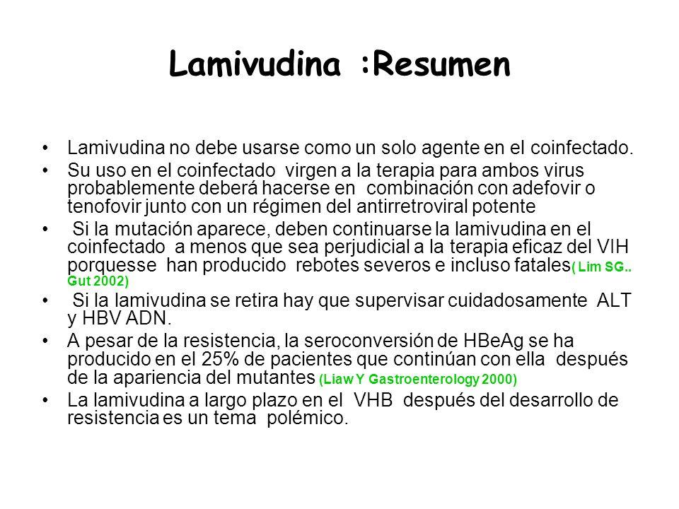 Lamivudina :Resumen Lamivudina no debe usarse como un solo agente en el coinfectado. Su uso en el coinfectado virgen a la terapia para ambos virus pro