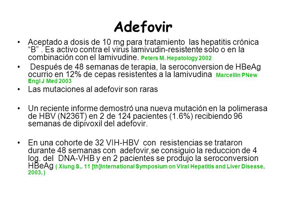 Adefovir Aceptado a dosis de 10 mg para tratamiento las hepatitis crónica B. Es activo contra el virus lamivudin-resistente solo o en la combinación c