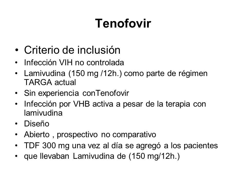 Tenofovir Criterio de inclusión Infección VIH no controlada Lamivudina (150 mg /12h.) como parte de régimen TARGA actual Sin experiencia conTenofovir