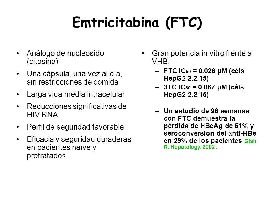 Emtricitabina (FTC) Análogo de nucleósido (citosina) Una cápsula, una vez al día, sin restricciones de comida Larga vida media intracelular Reduccione
