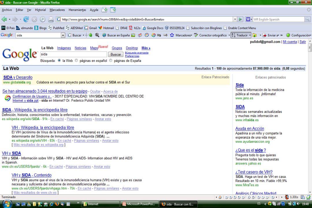 u Crítica de la información (las 3 F): F echa F echa F echa F echa F irma F irma F irma F irma F inanciación F inanciación Informarse sobre sida en Internet