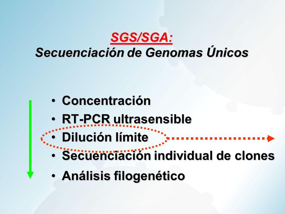 SGS/SGA: Secuenciación de Genomas Únicos ConcentraciónConcentración RT-PCR ultrasensibleRT-PCR ultrasensible Dilución límiteDilución límite Secuenciac