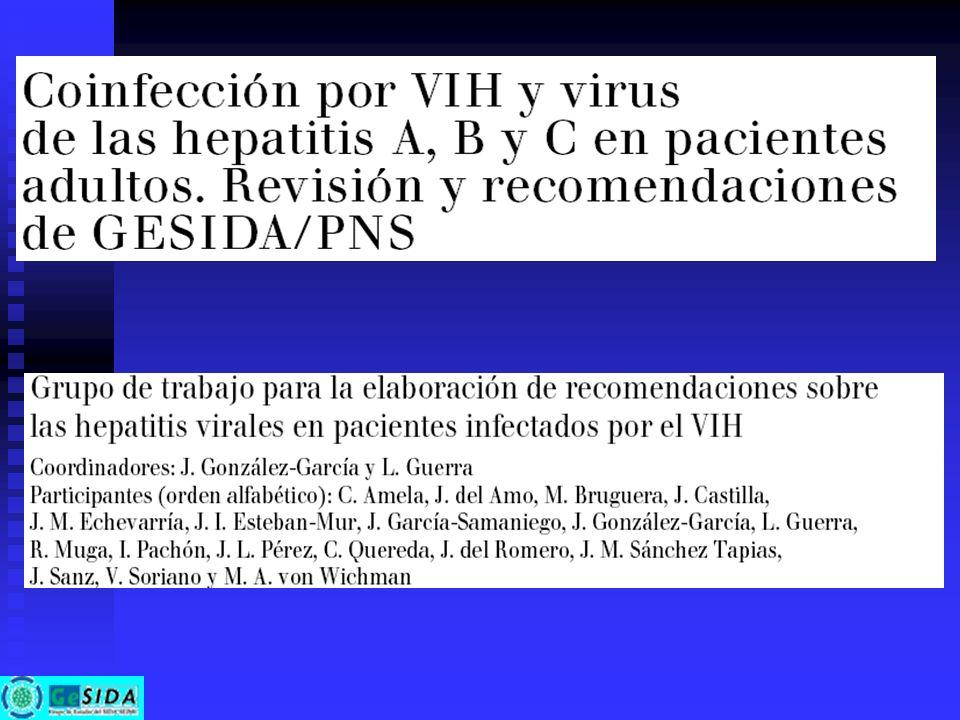 Tratamiento antirretroviral en pacientes con hepatitis crónicas virales Recomendaciones (II): Recomendaciones (II): En pacientes con hepatitis aguda de otra etiología se recomienda interrumpir el TARV y reintroducirlo tras su resolución En pacientes con hepatitis aguda de otra etiología se recomienda interrumpir el TARV y reintroducirlo tras su resolución En pacientes con cirrosis en general se utilizarán los ARV a las dosis habituales pero se recomienda una estrecha vigilancia de sus efectos secundarios En pacientes con cirrosis en general se utilizarán los ARV a las dosis habituales pero se recomienda una estrecha vigilancia de sus efectos secundarios En pacientes con VHB en los que se esté considerando la interrupción de lamivudina (resistencia de VIH, etc) deberá realizarse un control frecuente de la función hepática si se interrumpe, o bien optar por mantener el tratamiento con 3TC o bien procurar la introducción de otro fármaco ARV con actividad frente a VHB En pacientes con VHB en los que se esté considerando la interrupción de lamivudina (resistencia de VIH, etc) deberá realizarse un control frecuente de la función hepática si se interrumpe, o bien optar por mantener el tratamiento con 3TC o bien procurar la introducción de otro fármaco ARV con actividad frente a VHB