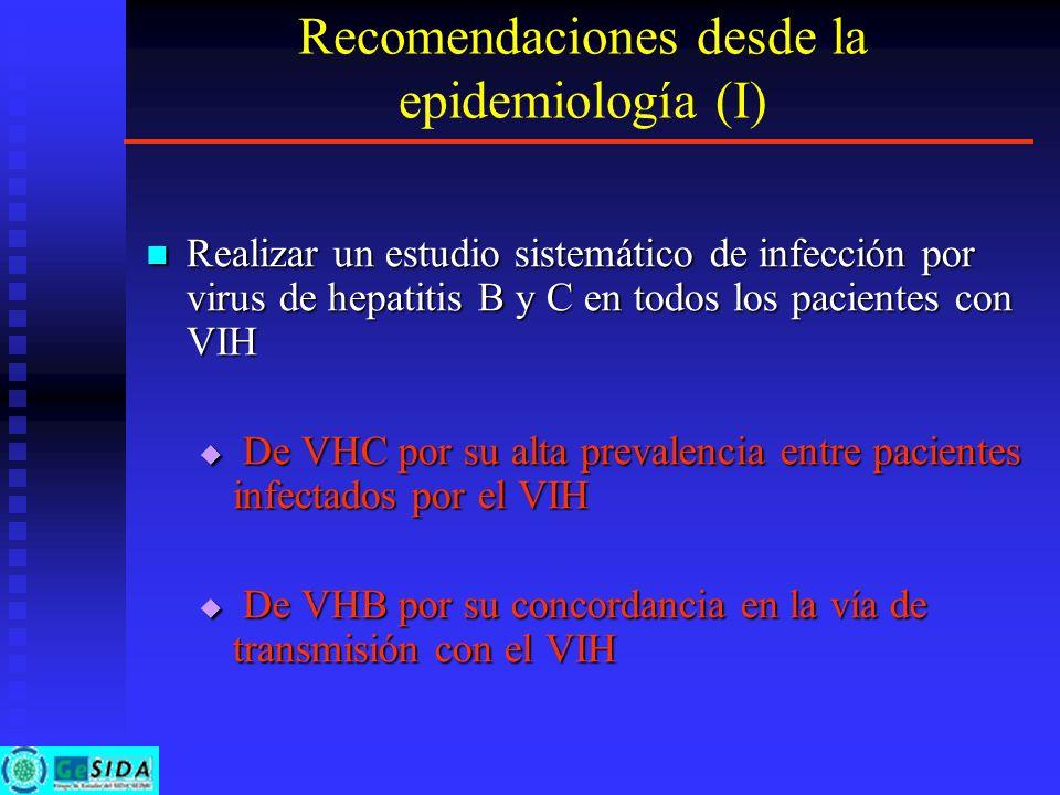 Recomendaciones desde la epidemiología (I) Realizar un estudio sistemático de infección por virus de hepatitis B y C en todos los pacientes con VIH Re