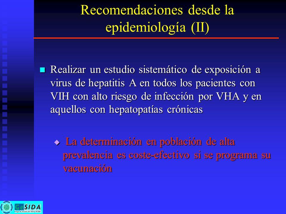 Recomendaciones desde la epidemiología (II) Realizar un estudio sistemático de exposición a virus de hepatitis A en todos los pacientes con VIH con al