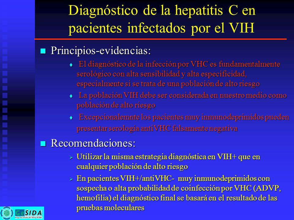 Diagnóstico de la hepatitis C en pacientes infectados por el VIH Principios-evidencias: Principios-evidencias: El diagnóstico de la infección por VHC