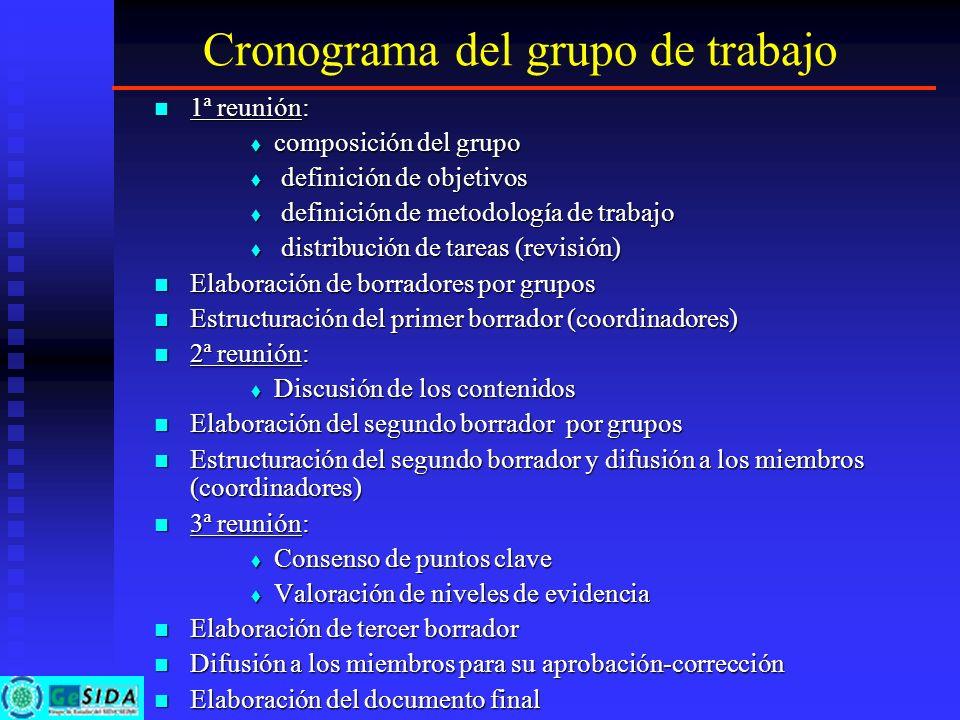 Cronograma del grupo de trabajo 1ª reunión: 1ª reunión: composición del grupo composición del grupo definición de objetivos definición de objetivos de