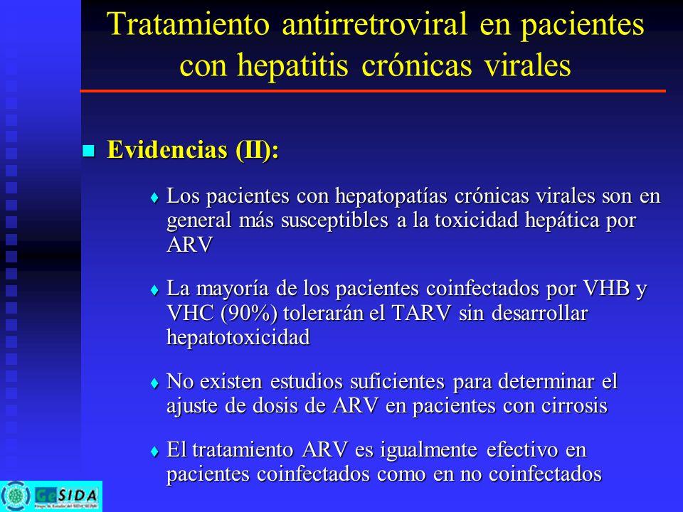 Tratamiento antirretroviral en pacientes con hepatitis crónicas virales Evidencias (II): Evidencias (II): Los pacientes con hepatopatías crónicas vira
