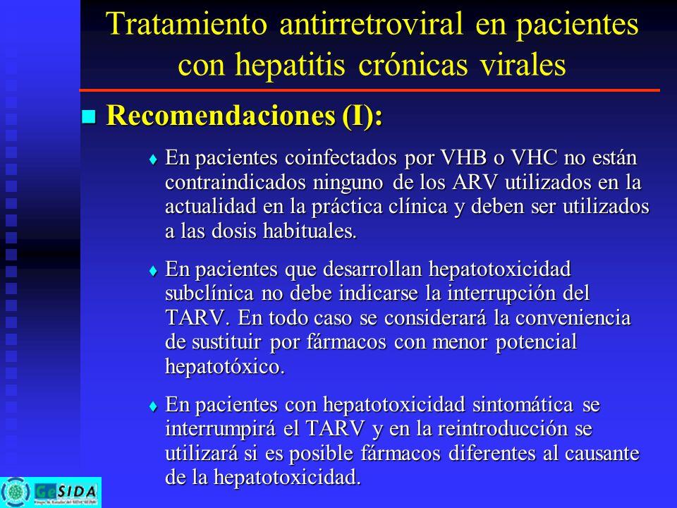Tratamiento antirretroviral en pacientes con hepatitis crónicas virales Recomendaciones (I): Recomendaciones (I): En pacientes coinfectados por VHB o