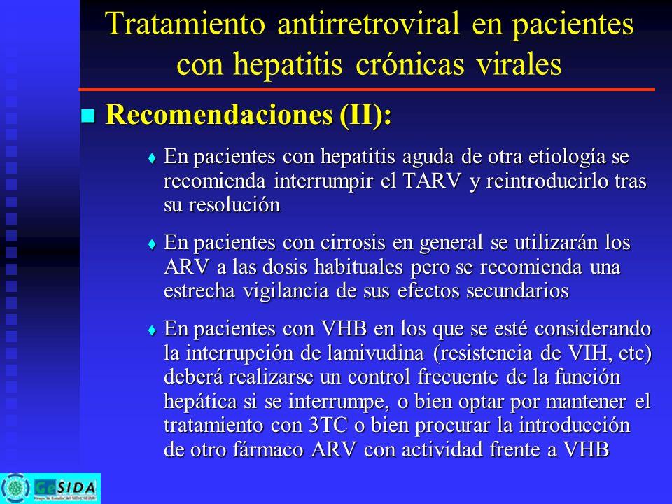 Tratamiento antirretroviral en pacientes con hepatitis crónicas virales Recomendaciones (II): Recomendaciones (II): En pacientes con hepatitis aguda d
