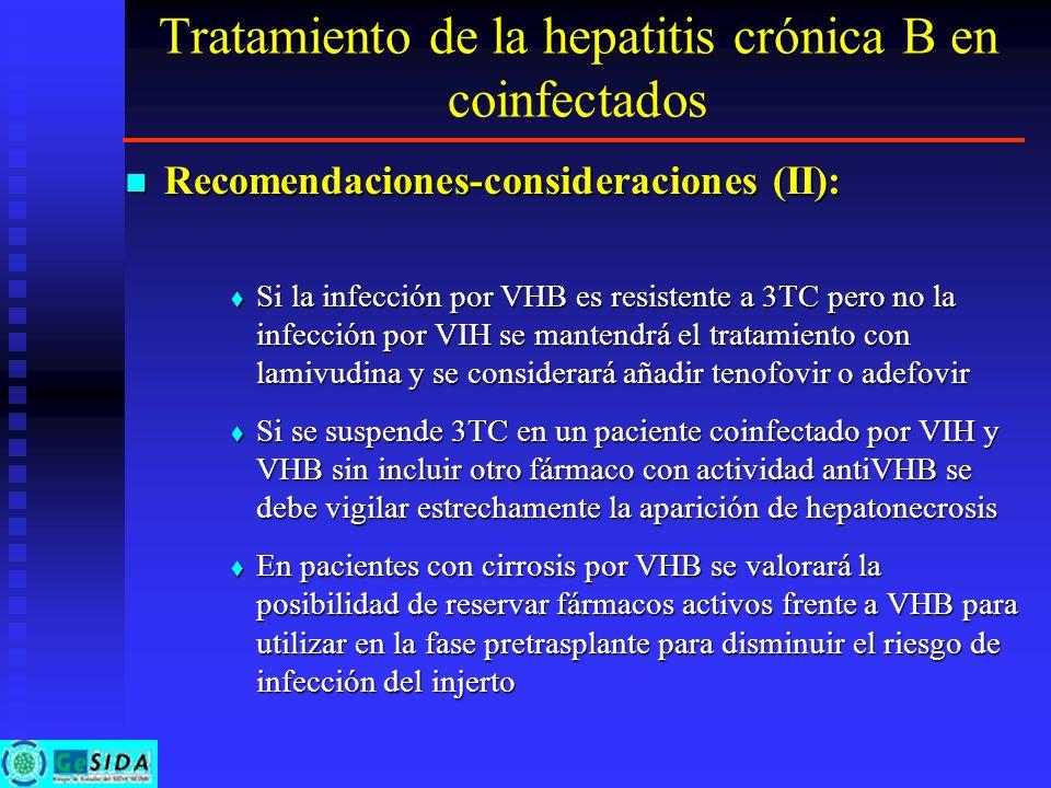 Tratamiento de la hepatitis crónica B en coinfectados Recomendaciones-consideraciones (II): Recomendaciones-consideraciones (II): Si la infección por