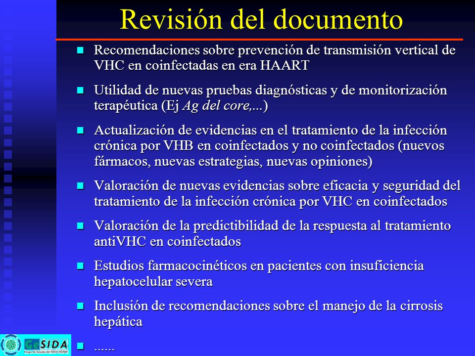 Revisión del documento Recomendaciones sobre prevención de transmisión vertical de VHC en coinfectadas en era HAART Recomendaciones sobre prevención d